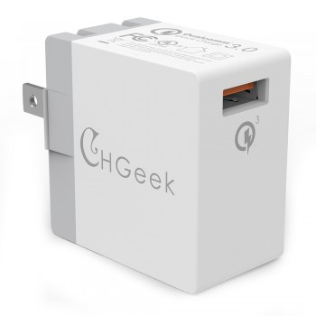 CHGeek Rapid USB Wall Charger UL Certified 18W Quick Charge QC 3.0 USB Travel Adapter Foldable US Plug -CH06S