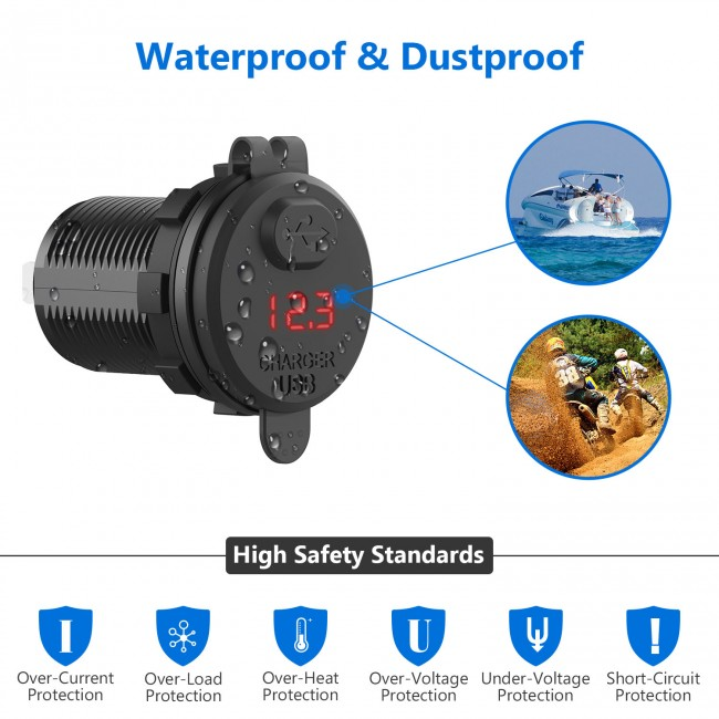 CHGeek 12V//24V 4.2A USB Car Charger Power Outlet Adapter Waterproof with LED Digital Play for Car RV ATV Boat Marine Motorcycle Mobile USB Charger Socket