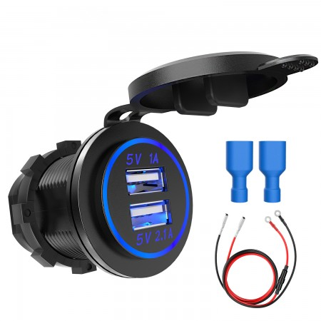 HiGoing 12V/24V Marine USB Outlet, Waterproof QC3.0 USB Charger Socket