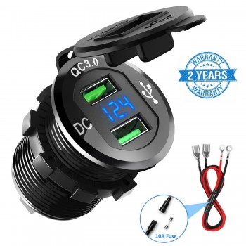 CHGeek Quick Charge 3.0 Car Charger with LED Digital Voltmeter